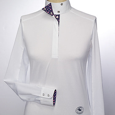 Essex Classics - Ladies Valencia Talent Yarn Wrap Collar Shirt - Pink Hearts - Quail Hollow Tack