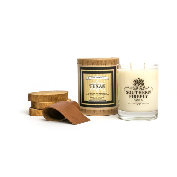 Southern Firefly Texas Candle - Cedar and Leather