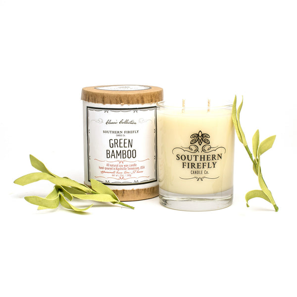 Southern Firefly Green Bamboo Candle