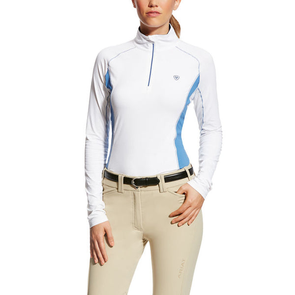 Ariat - Tri Factor 1/4 Zip Top - White/Blue - Quail Hollow Tack