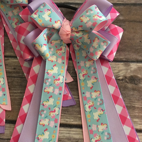 Gray & Co. Designs - Show Bows - Hot Pink Gingham Unicorns - Quail Hollow Tack