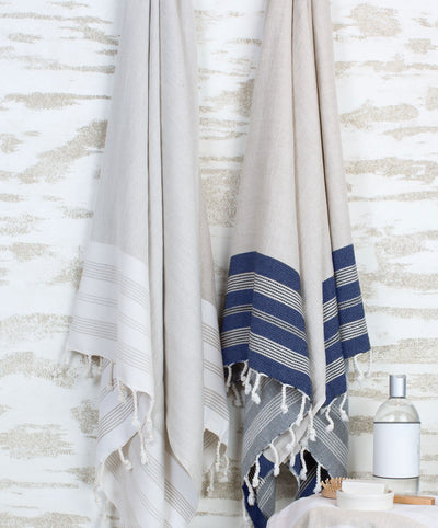 Ecru Linen Cotton Bath Towels