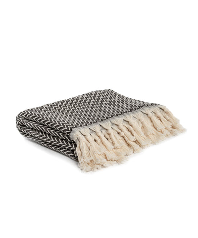 Art Deco Throw Blanket with Fringes