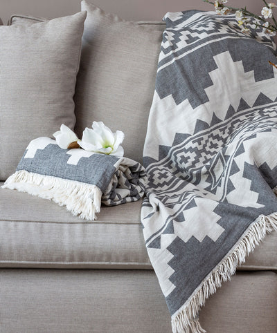 Aztec Cotton Couch Throw Blanket with Fringes