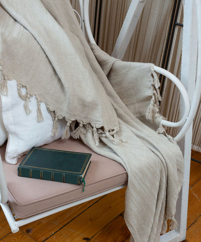 Bosphorus Handmade Woven Linen Blanket with Fringes