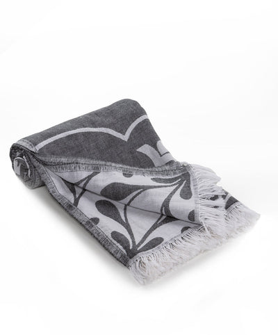 Damask Double sided Handmade Cotton Turkish Beach Towel Black