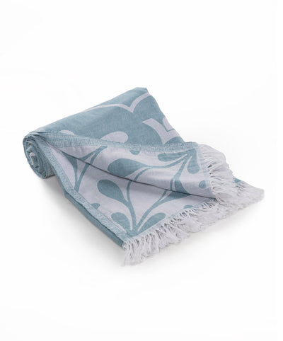 Damask Double sided Handmade Cotton Turkish Beach Towel Teal