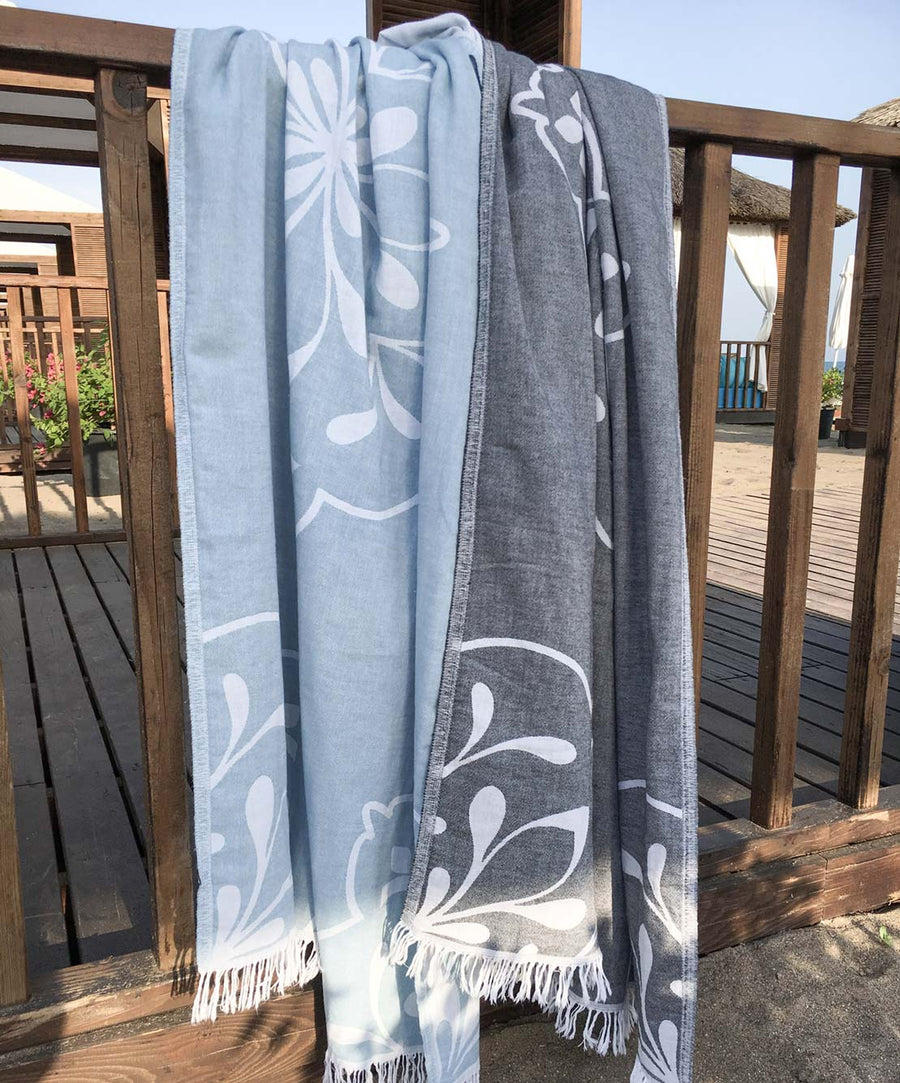 Damask Double-sided Cotton Turkish Towel with Fringes