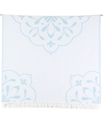Damask Double-sided Turkish Beach Towel with Fringes teal color