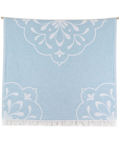 Damask Double-sided Turkish Beach Towel with Fringes Mint