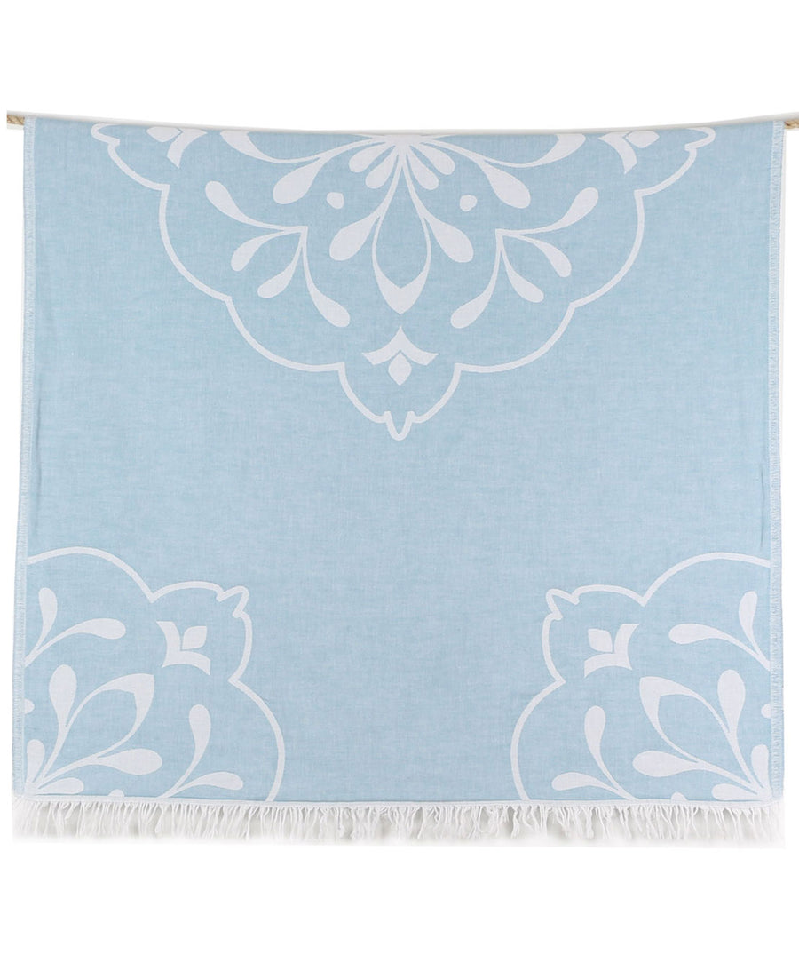 Damask Double-sided Turkish Beach Towel with Fringes