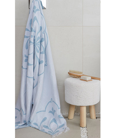 Damask Pattern Teal Turkish Towel