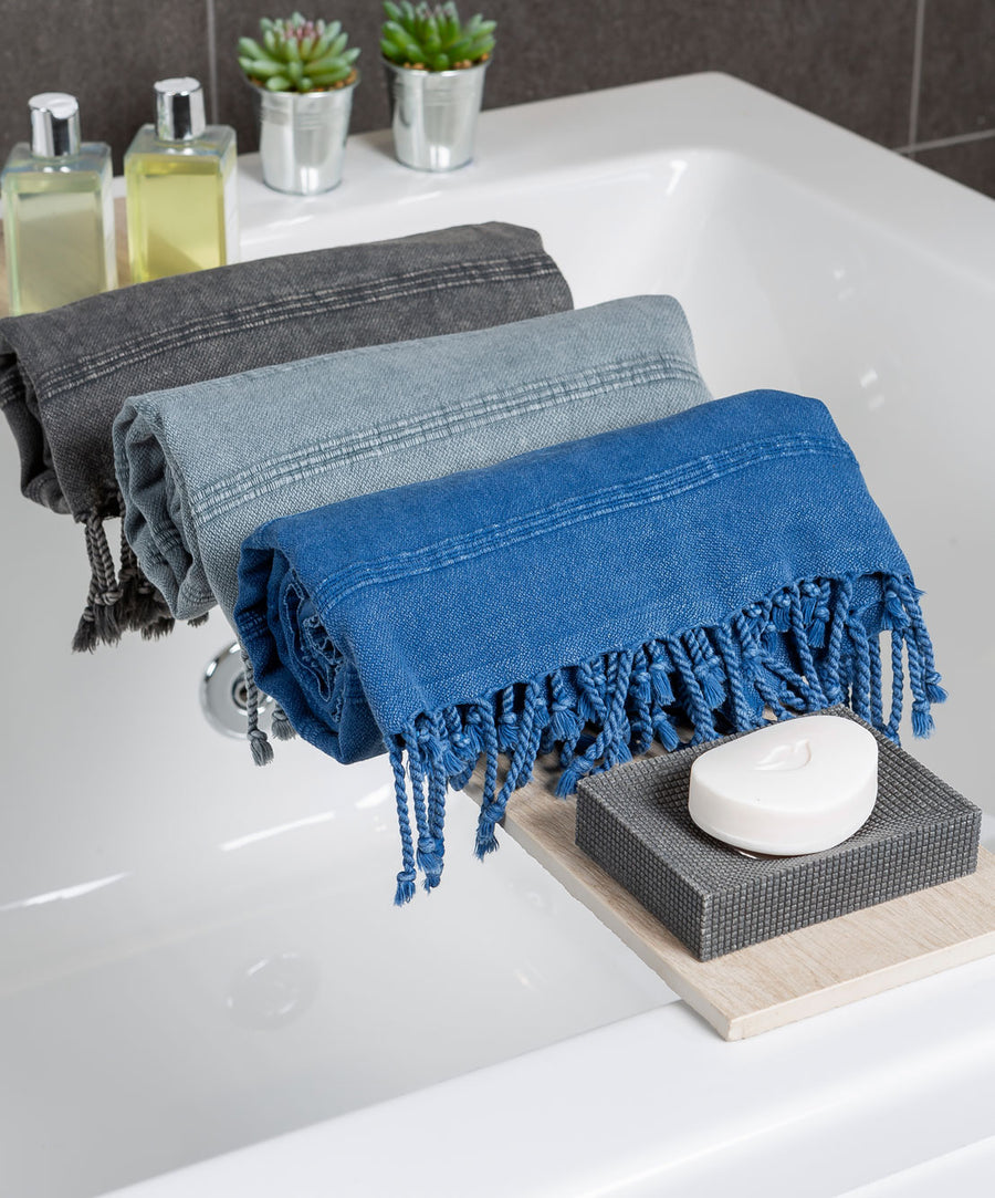 Stonewashed Turkish Towel with Fringes Bathroom