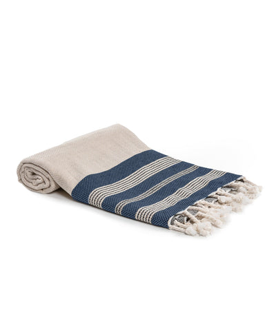 Ecru Linen and Cotton Turkish Towel Navy