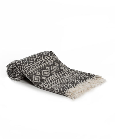 Ethnic Cotton Turkish Beach Towel Gray