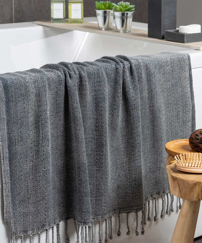 Fishbone Stonewashed Turkish Towel with Hand-knotted Fringes