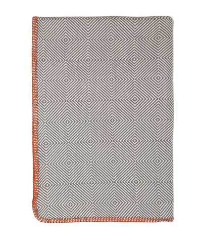 Herringbone Cotton Throw Blanket Gray Folded
