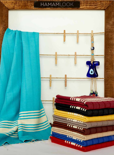 Turquoise Cotton Bath and Beach Turkish Towel