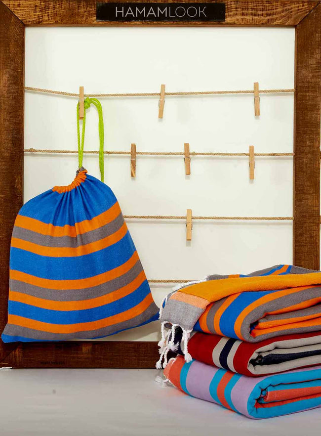 Orange Cotton Terry Turkish Beach Towel with Bag