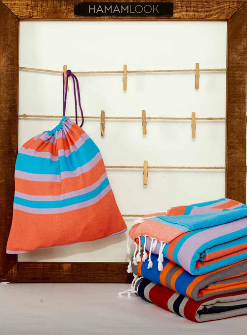Blue Cotton Terry Turkish Beach Towel with Bag