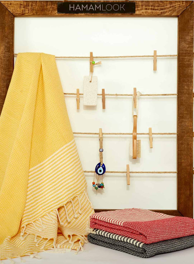Yellow 100% Cotton Handmade Turkish Beach and Bath Towels