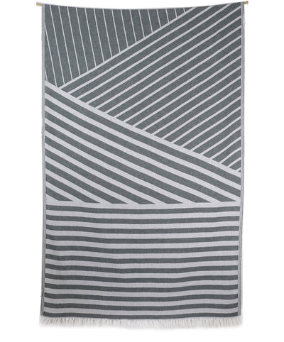 Lane Striped Jacquard Turkish Towel with Fringes