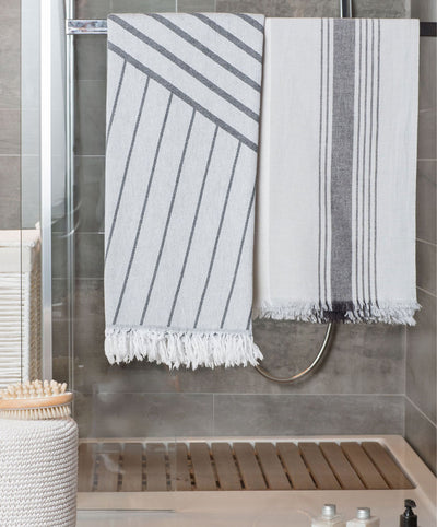 Lane Striped Double-Sided Jacquard Turkish Towel with Fringes