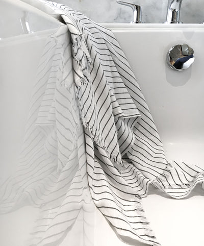 Cotton black striped white bath towel