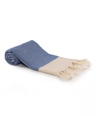 Diamond Cotton Turkish Beach Towels Blue