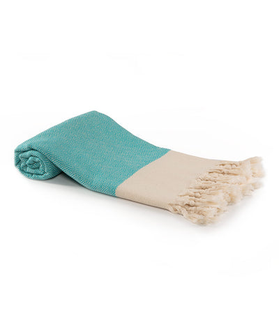Diamond Cotton Turkish Beach Towels Turquoise
