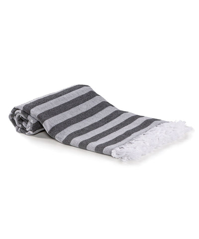 Lane Striped Jacquard Turkish Towel  with Eyelash Fringes