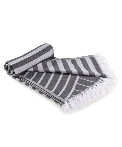 Gray Striped jacquard Turkish Towel