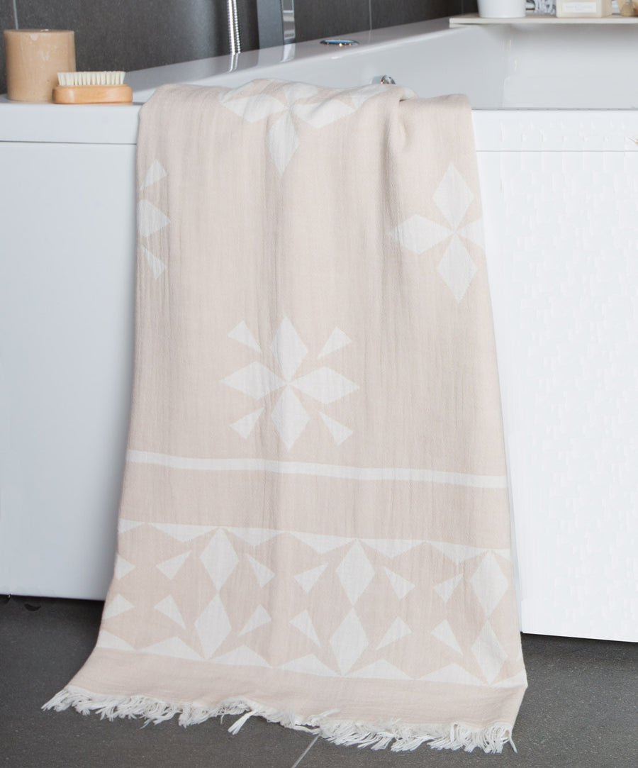 Nomad Double-sided Fringed Bath Towel Beige