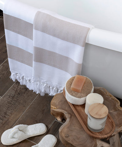 Beige Striped Turkish Towels Mediterien Deep