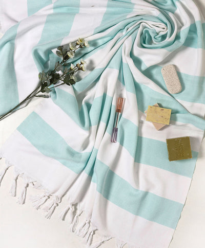 Mediterranean Cotton Turkish Peshtemal Towels Mint