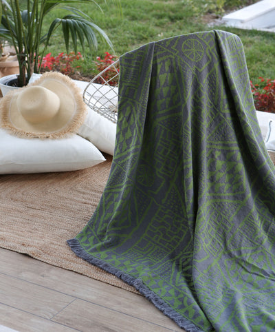Mirror Throw Blanket Green 100% Cotton