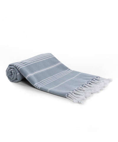 Rainbow Cotton Basic Fringed Turkish Towel Gray