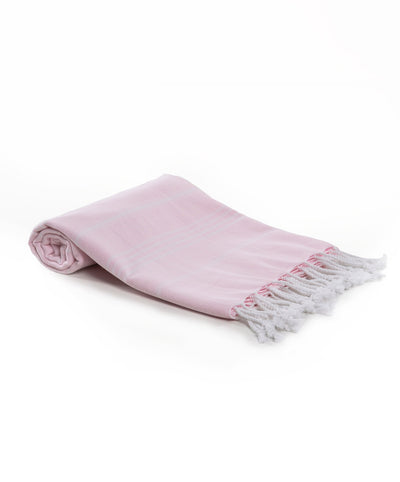 Rainbow Cotton Basic Fringed Turkish Towel pink