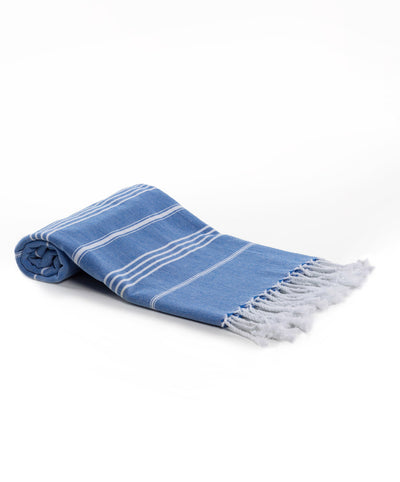 Rainbow Cotton Basic Fringed Turkish Towel Saxon Blue