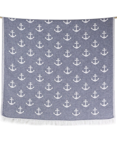 Sail Double-sided Turkish Beach Towel Dark Blue