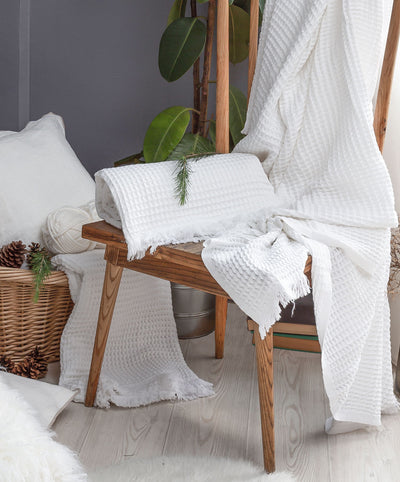 Serenity Waffle Weave Throw Blanket with Eyelash Fringes