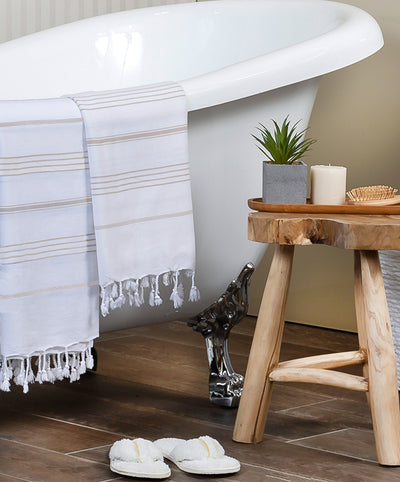 Beige Striped White Cotton Handmade Turkish Bath Towel
