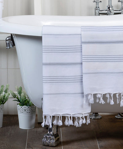 Gray Striped White Cotton Handmade Turkish Bath Towel