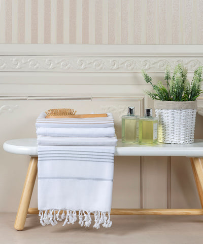 Sparkler Luxury Striped White Cotton Handmade Turkish Bath Towel