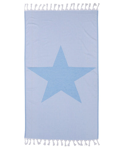 Double sided Star 100% Cotton Turkish Towel Blue