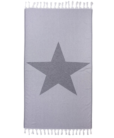 Star Cotton Handmade Turkish Beach Towel Gray Double Sided Towel