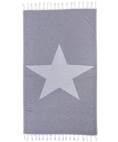 Star Cotton Handmade Turkish Beach Towel Gray