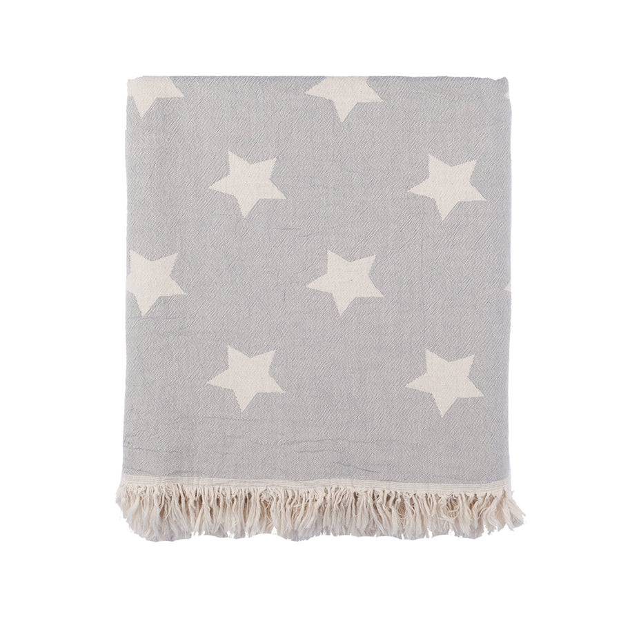 Double-sided Cotton Fringed Throw Blanket Gray