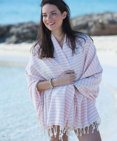 Stripy Cotton Handmade Turkish Towel with Fringes