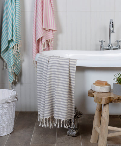 Stripy Cotton Handmade Turkish Towel with Hand-knotted Fringes